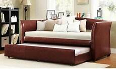 Trundle Sofa Bed 3d Image by Modern Brown Upholstered Faux Leather Sofa Sleeper Trundle