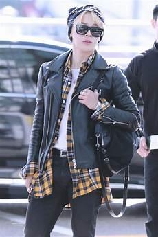 bts jimin airport style кожаная куртка модные стили