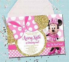 Minnie Mouse Birthday Invitations Free Minnie Mouse 1st Birthday Invitation Pink And Gold Minnie
