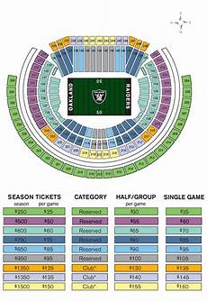 Raiders Tickets Seating Chart Oakland Raiders Seating Amp Price Map