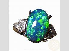 Impressive Black Opal and Diamond Ring   FlashOpal