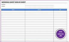 Guest Sign In Sheet Template Wedding Guest Sign In Sheet Template 187 Exceltemplates Org