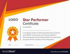 Top Performer Certificate Template Geometric Red And Gold Star Performer Certificate