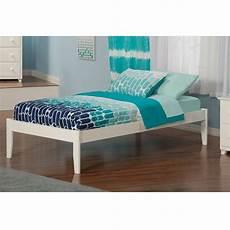 xl solid hardwood platform bed frame in white wood finish