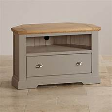 st ives corner tv unit in grey painted acacia with oak top