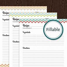 Editable Recipe Page Template Recipe Card Full Page Colourful Chevron Fillable