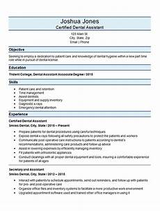 Dental Assistant Objective Examples Certified Dental Assistant Resume Example