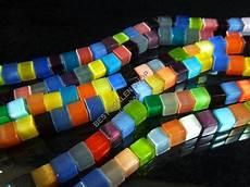 60 occhio di gatto perle cubo 6mm multicolore vetro catena