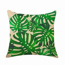 tropical cushion cover green plants palm leaf pillow cover
