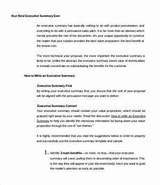 Sample Executive Summary Template 31 Executive Summary Templates Free Sample Example
