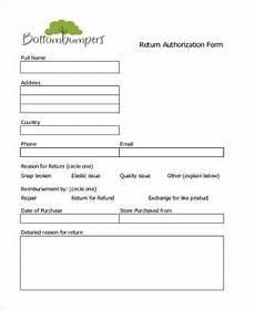 Return Authorization Form Template Free 10 Sample Return Authorization Forms In Pdf Excel