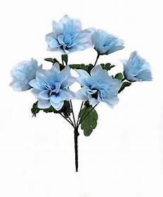 Silk Flower Lights 6 Dahlia Flowers Light Blue Silk Flower Bush Wedding