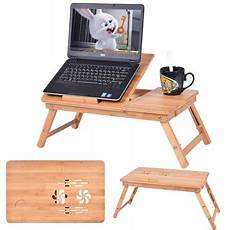 costway portable bamboo laptop desk table folding