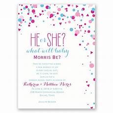 Free Printable Gender Reveal Invitations Pretty Confetti Gender Reveal Invitation