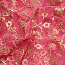 embroidery fabric buy pink and golden flower design embroidery