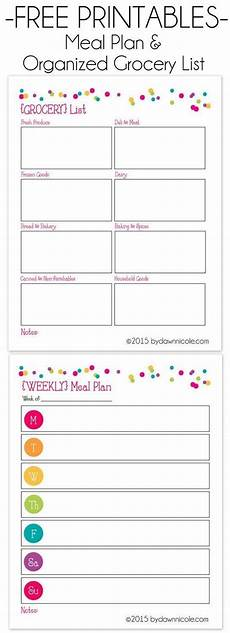 Meal Planning Grocery List Template Free Printable Meal Plan Amp Organized Grocery List