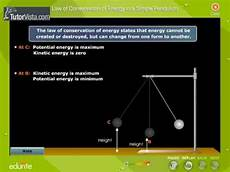 The Law Of Conservation Of Energy Law Of Conservation Of Energy In A Simple Pendulum Youtube