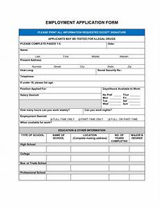 Employment Application Form Template Free Printable Job Application Form Template Form Generic