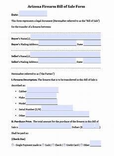 Bill Of Sale Az Free Arizona Firearm Bill Of Sale Form Pdf Word Doc