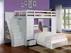 acme 37145 freya white loft bed with bookcase ladder
