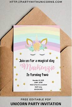 Free Invitations Unicorn Birthday Invitations Free Printable Party With