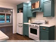 my finished for now kitchen from green to teal