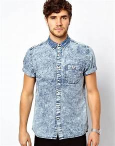 sleeve denim shirt asos denim shirt in sleeve with acid wash in blue