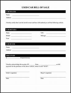 Car Sale As Is Form Printable Bill Of Sale Car Free Printable Documents