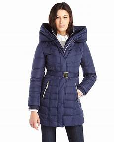 kensie coats for neumaticos kensie belted coat in blue lyst