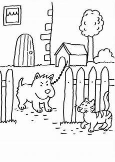Malvorlage Katze Und Hund Kostenlose Malvorlage Hunde Wachhund Und Katze Zum Ausmalen