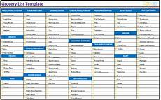 Printable Grocery List By Category Grocery List Template Categorized Dotxes