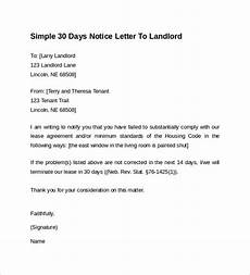 Printable 30 Day Notice To Landlord Free 10 Sample 30 Days Notice Letters To Landlord In Pdf