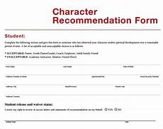 Letter Of Recommendation Forms Free 10 Sample Character Letter Of Recommendation