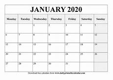 January 2020 Calendar Download Free Printable Calendar Monday Start Calendar Printables