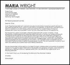 Reading Teacher Cover Letters Reading Specialist Cover Letter Sample Cover Letter