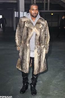 kanye west coats kanye west rocked a fur coat at fashion week on