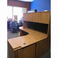 Overhead Desk Light Light Cherry Desk With Overhead Runoff File Cabinet And