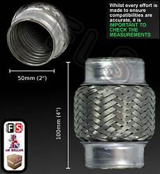 universal weld on cat repair exhaust flexi 50mm x 100mm 2