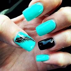 Black And Teal Nail Designs Turquoise Nails With Feather Nail Art And Black Accent