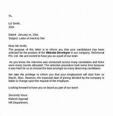 Sample Letter Of Intent To Hire Employee Sample Letter Of Intent For A Job 7 Free Documents In