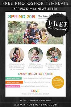 Holiday Family Newsletter Templates Spring Family Newsletter Free Photoshop Template Birdesign