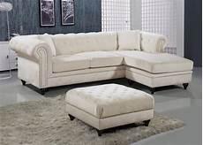 button tufted velvet nailhead sectional sofa