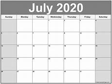 Monthly 2020 Calendar Printable July 2020 Calendar Free Printable Monthly Calendars