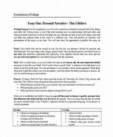 Examples Of A Personal Narrative Essay College Personal Narrative Essay