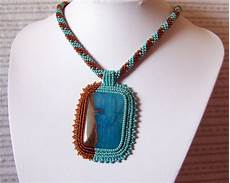 beadwork bead embroidery pendant necklace with blue lace