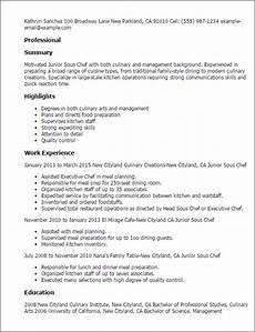 Chef Resumes 1 Junior Sous Chef Resume Templates Try Them Now