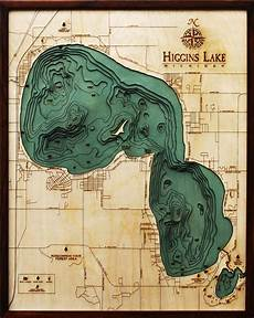 Sooner Lake Depth Chart 3d Higgins Lake Depth Chart Wooden Laser Cut Lake Map