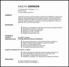 Logistic Coordinator Cv Logistics Coordinator Resume Ipasphoto