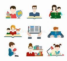 Teacher Style Profile Builder Flat Style Education People Icon Set Stock Vector