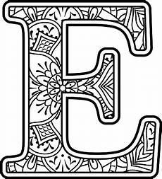 mandala coloring letter e stock illustration